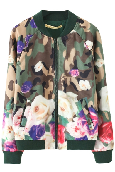 Floral Print Stand-Up Collar Bomber Jacket