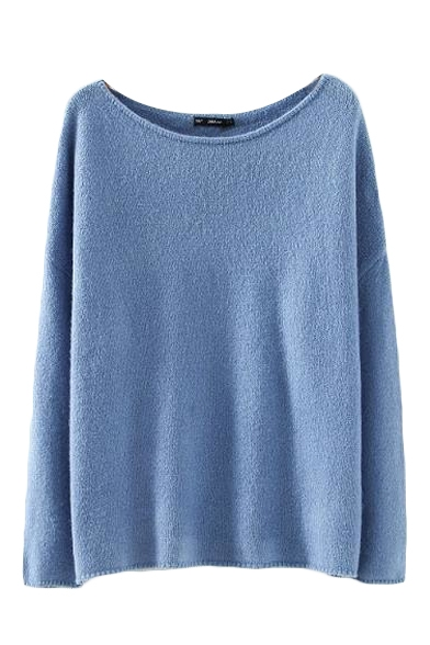 Plain Scoop Neck Batwing Long Sleeve Loose Sweater