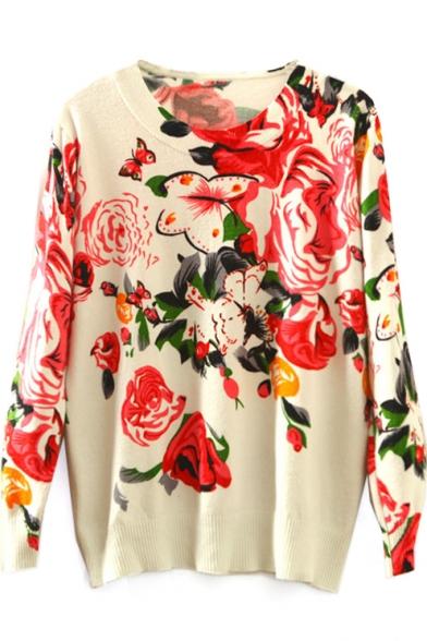 Beige Round Neck Red Floral Print Sweater
