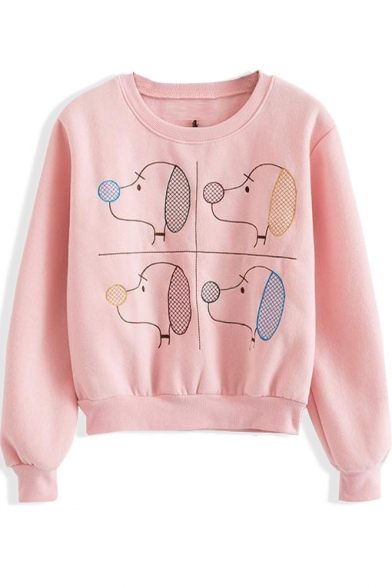 Long Sleeve Cartoon Dog Pattern Round Neck Sweatshirt