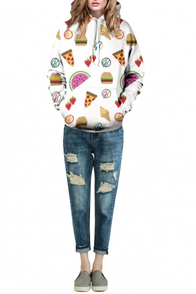 White Laid Back Cartoon Food Print Hoodie