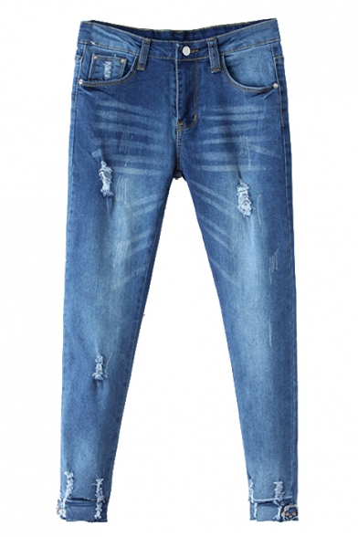Blue Ripped Zipper Fly Cigarette Denim Pants