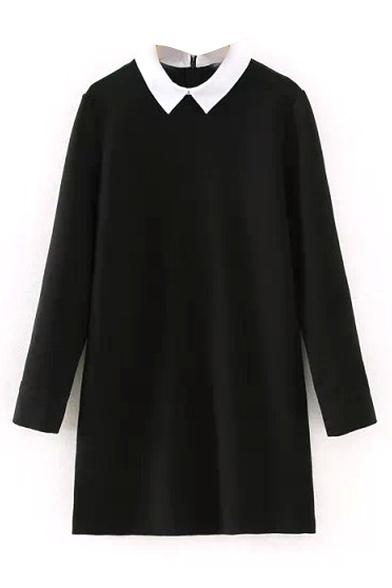 Воротник Цвет Блока С Длинным Рукавом Черное Платье