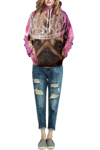 Pink Dog Imperial Crown Print Long Sleeve Hoodie
