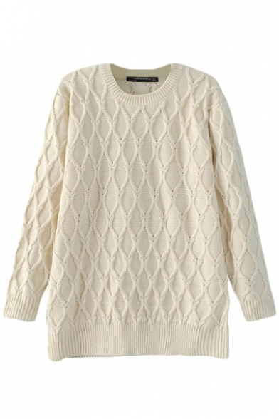 Plain Cable Knit Crew Neck Long Sleeve Sweater