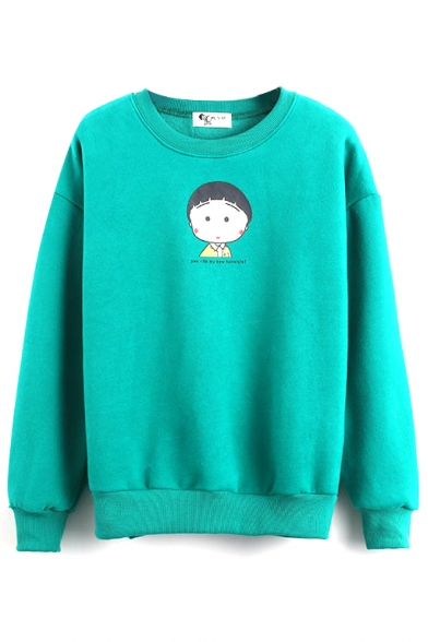 Round Neck Long Sleeve Cartoon Print Pullover Sweatshirt
