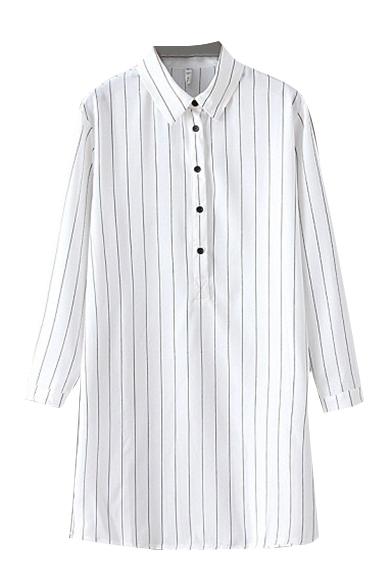 Simple Stripe Lapel Long Sleeve Button Tunic Shirt