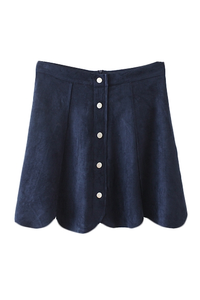 Zip Back Suede Petal Hem Buttons A-Line Mini Skirt
