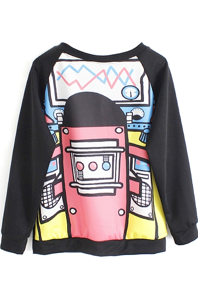 Black Print Graffiti Sweatshirt Sleeve Raglan Long pRwqHFzpr