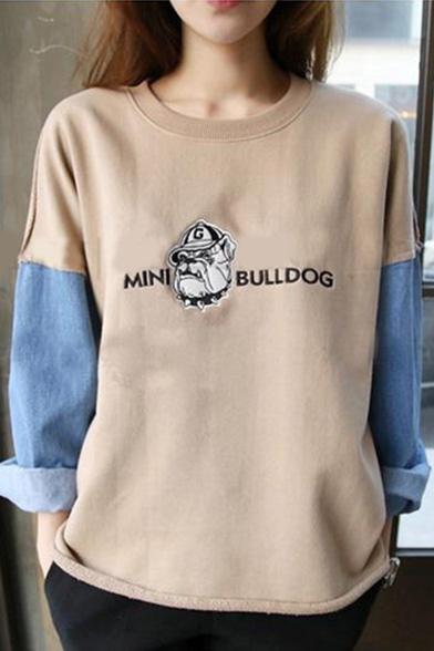 Color Block Round Neck Long Sleeve Cartoon Print Sweatshirt