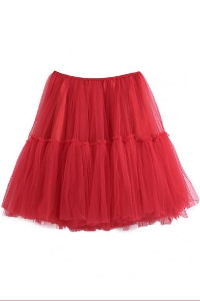 Elastic Waist A-Line Plain Gauze Mini Skirt