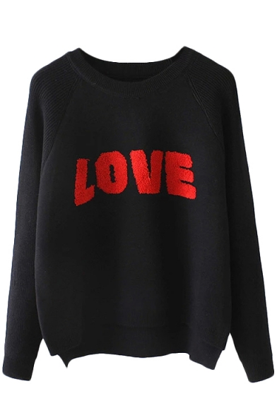 Letter Raglan Sleeve Round Neck Sweater