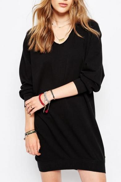 V-Neck Long Sleeve Black T-Shirt Dress