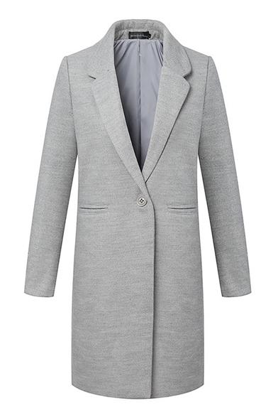 Lapel Gray Long Sleeve Single Button Longline Blazer