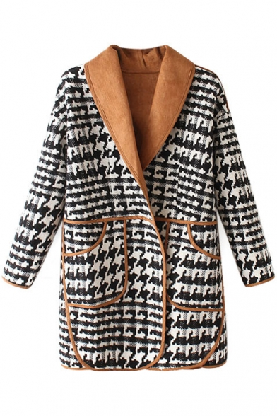 Lapel Long Sleeve Button Down Double Pockets Hounds tooth Print Coat