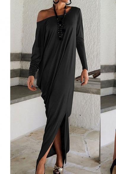 One Shoulder Long Sleeve Plain Maxi T-Shirt Dress