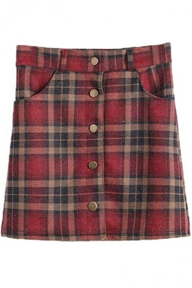 Plaid Print Double Pocket Single Breast Skirt