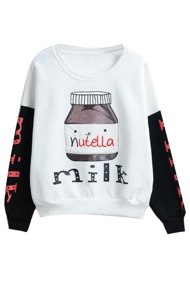 Round Neck Long Sleeve Color Block Print Sweatshirt
