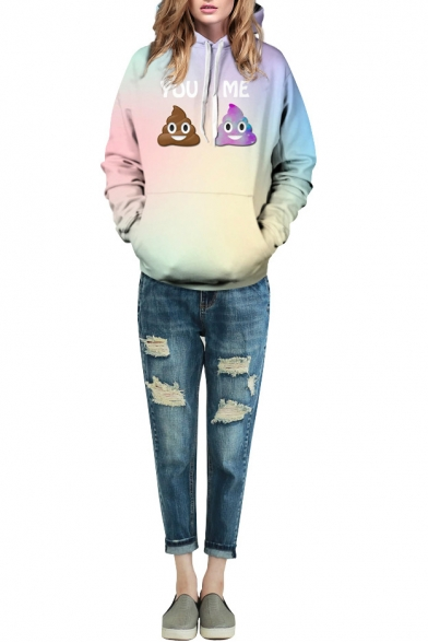 3D Cartoon Print Long Sleeve Laid Back Hoodie