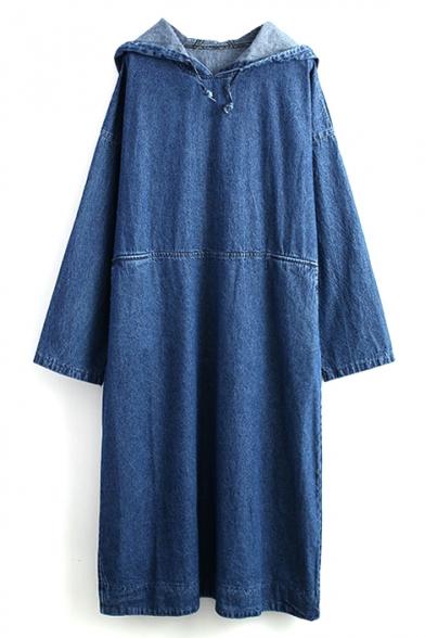 Blue Hooded Long Sleeve Maxi Denim Dress
