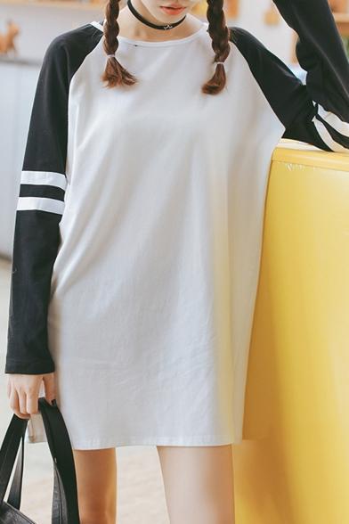 Color Block Long Raglan Sleeve T-Shirt Dress