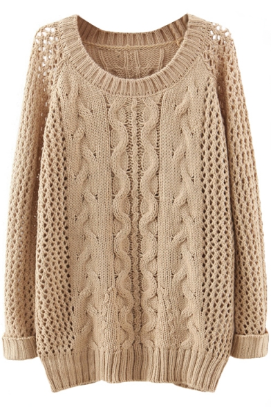 Plain Raglan Sleeve Cable Open Knit Sweater