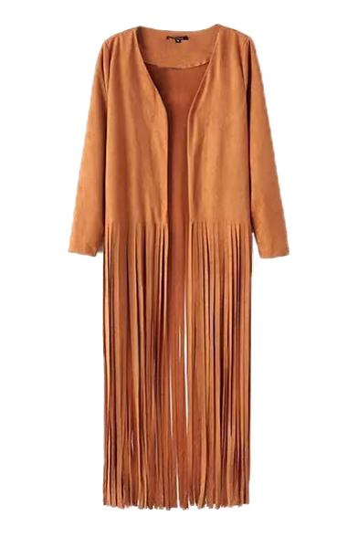 Open Front Tassel Sleeve Long Hem Coat qUZHwf0t