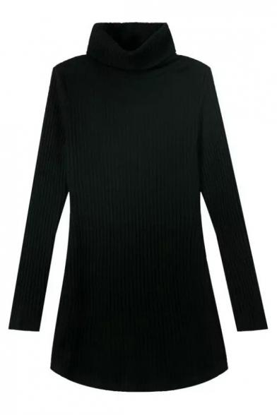 Plain Black Turtle Neck Long Sleeve Knit Sweater
