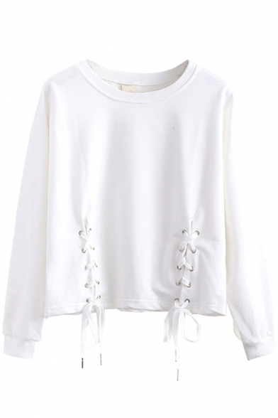 Plain Round Neck Stylish Tie Front Long Sleeve Tee