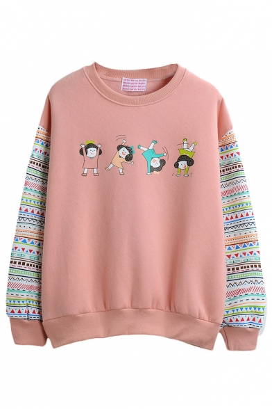 Round Neck Cartoon Tribal Print Long Sleeve Sweatshirt