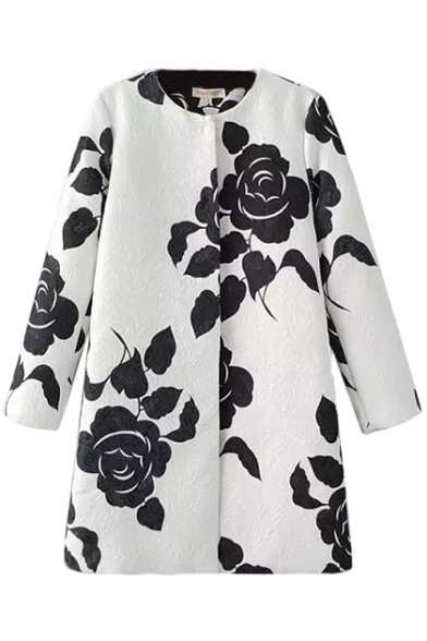 Round Neck Long Sleeve Floral Print Single Breasted Coat
