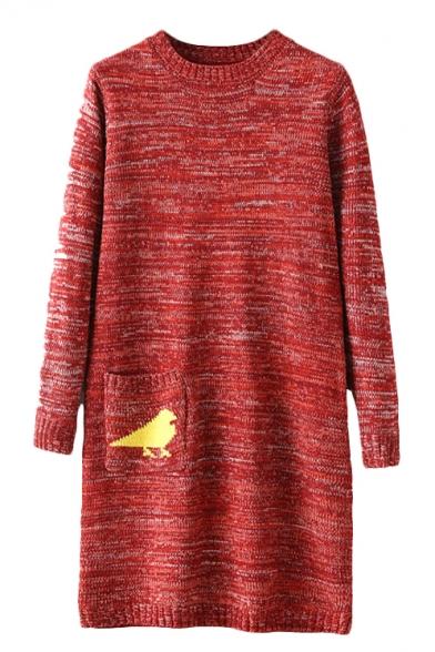 Round Neck Long Sleeve Pocket Detail Bird Print Long Sweater