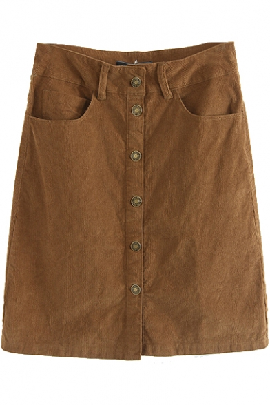 Brown Button Down Double Pockets Wrap Skirt