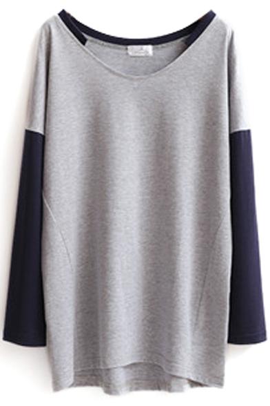 Color Block V-Neck Tunic T-Shirt