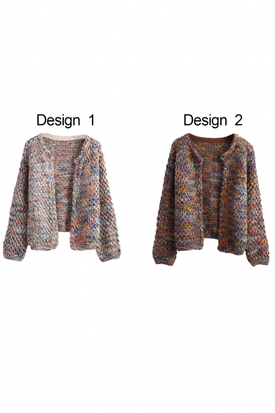 Heathered Round Neck Open Front Long Sleeve Knit Cardigan