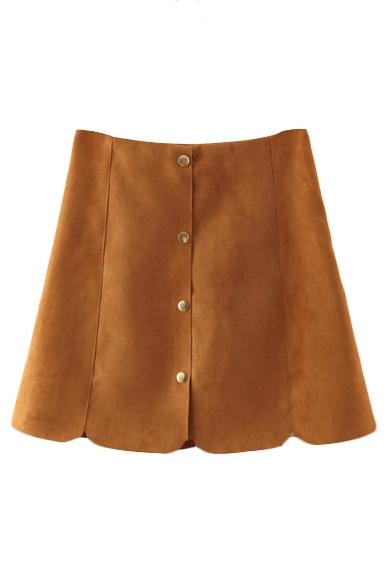Plain Button Fly Petal Hem Suede A-Line Mini Skirt - Beautifulhalo.com