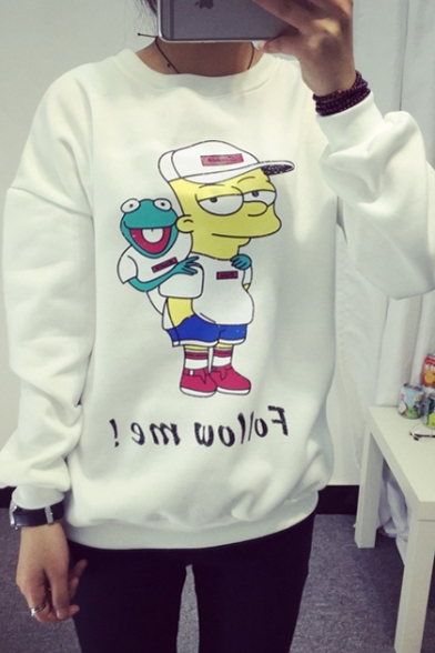 Sweatshirt Long Cartoon Pullover Round Print Sleeve Neck Z0pHYYwqT
