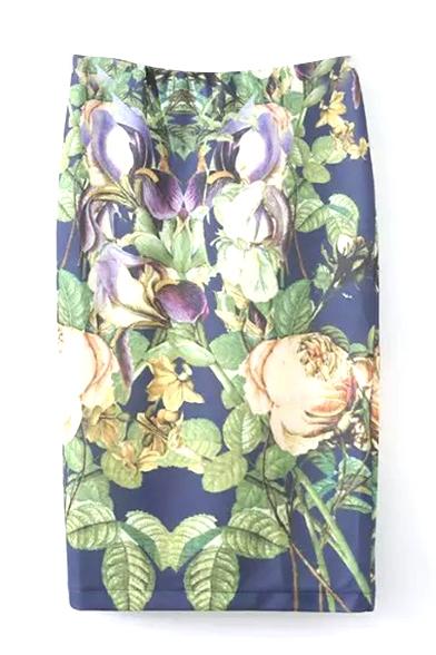 Beautiful Floral Print Elastic Waist Pencil Skirt