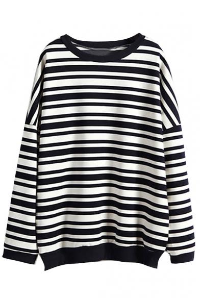 Black&White Stripe Print Long Sleeve Sweatshirt