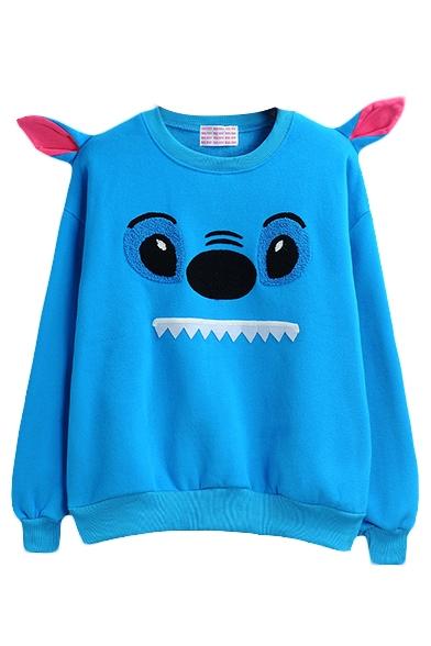 Blue Round Neck Long Sleeve Cartoon Print Sweatshirt