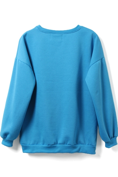 Sleeve Long Neck Cartoon Pullover Sweatshirt Print Round xIHOwqq