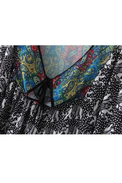 Tribal Print V-Neck Tie Front Long Sleeve Shirt Dress