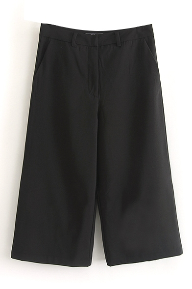 Zipper Fly Black Wide Leg Crop Pants