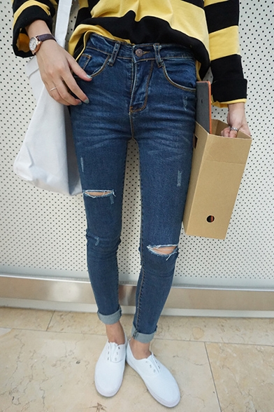 Zipper Fly Skinny Ripped Cutout Cigarette Jeans