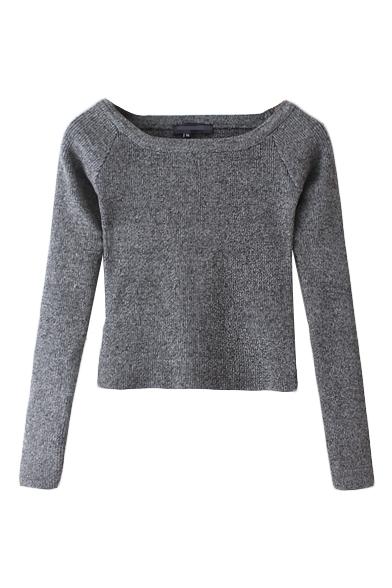 Boat Neck Plain Long Sleeve Crop Knit Sweater