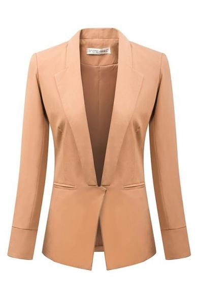 Lapel Plain Khaki Long Sleeve Single Button Blazer