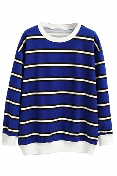 Stripe Print Round Neck Sweatshirt with Long Sleeve