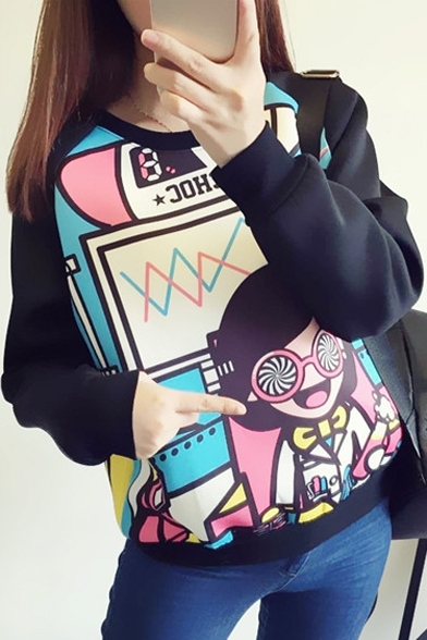 Sleeve Long Sweatshirt Print Black Raglan Graffiti qpEU1