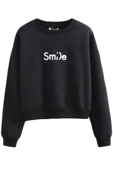 Sweatshirt Letter Long Neck Round Embroidery Sleeve wXqpfZ