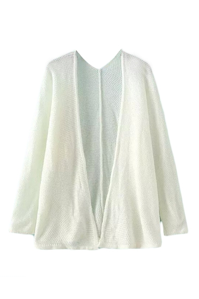 Plain V-Neck Open Front Cardigan